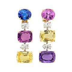 Bulgari Multi-Color Sapphire Earrings, 30.24 Carat