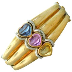 Bulgari Multi-Color Sapphire Heart Gold Bracelet