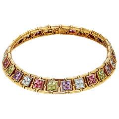 Bulgari Multi-Color Stones Gold Necklace