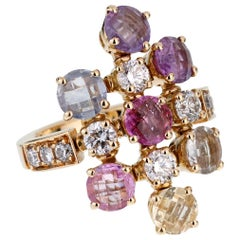 Bulgari Multi Gemstone Diamond Gold Ring