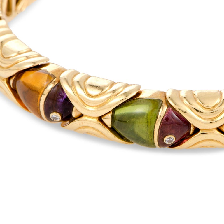 Bulgari Multi Gemstone Yellow Gold Fish Bangle Open Bracelet In Excellent Condition For Sale In Southhampton, PA