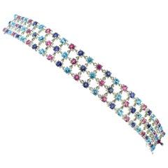 Bulgari Multi Stone 18 Karat White Gold Flexible Bracelet