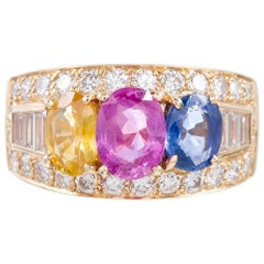 Bulgari Multicolored Sapphire and Diamond Ring