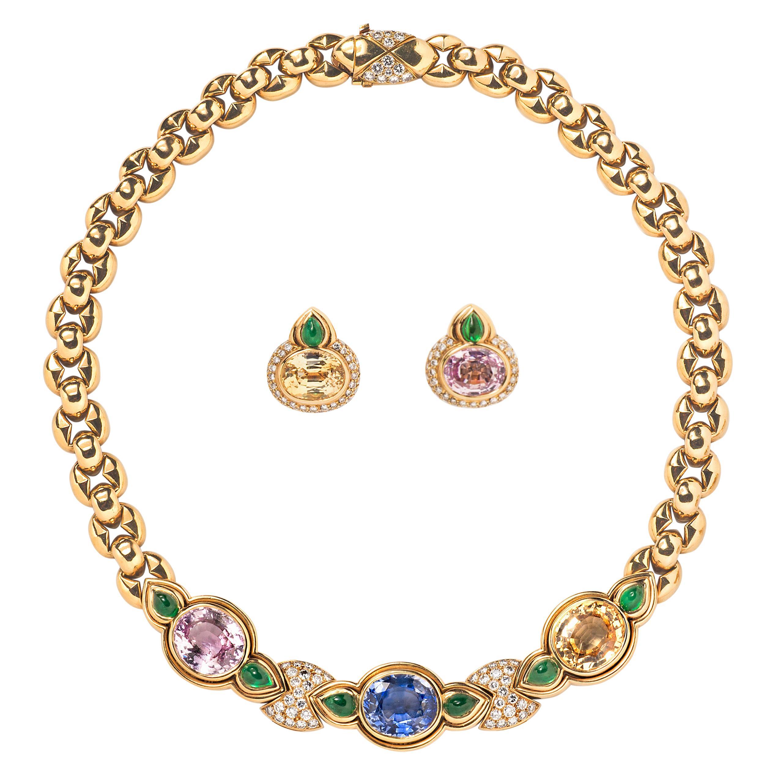 Bulgari Multicolored Sapphire, Emerald and Diamond Necklace and Ear Clip Suite