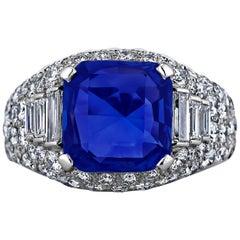 Bulgari Natural Emerald Cut Burmese Sapphire Diamond Platinum Trombino Ring