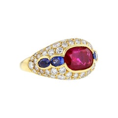 Bulgari Natural No Heat Burma Ruby, Sapphire and Diamond Ring