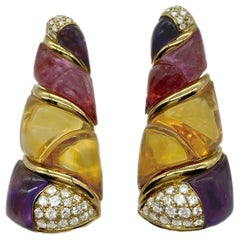 Bulgari Naturalia Amethyst, Citrine, Diamond Yellow Gold Earrings