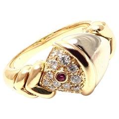 Bulgari Naturalia Diamond Ruby Yellow White Gold Fish Ring