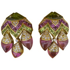 Bulgari Naturalia Multi-Gem Diamond and 18 Carat Yellow Gold Fish Motif Earrings
