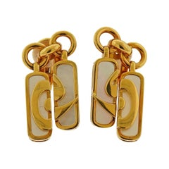 Bulgari Optical Illusion Mother of Pearl Gold Earrings