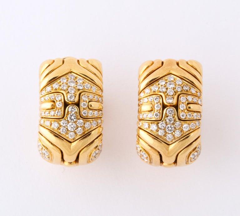 Bulgari, Pair of 18K Gold and Diamond Parentesi Earrings.  Very good condition. 100% authentic guaranteed.   Provenance: Park Avenue, New York Estate.  Marked BVLGARI 1988.