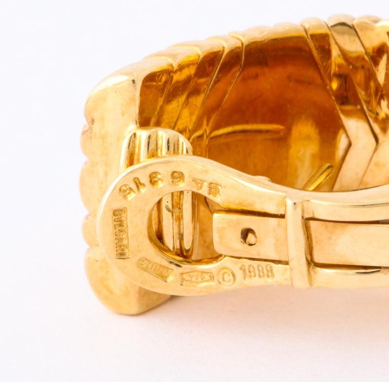 Bulgari, Pair of 18 Karat Gold and Diamond Parentesi Earrings For Sale 2