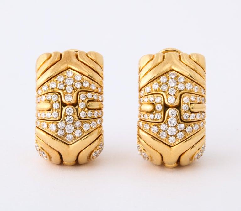 Bulgari, Pair of 18 Karat Gold and Diamond Parentesi Earrings For Sale 3