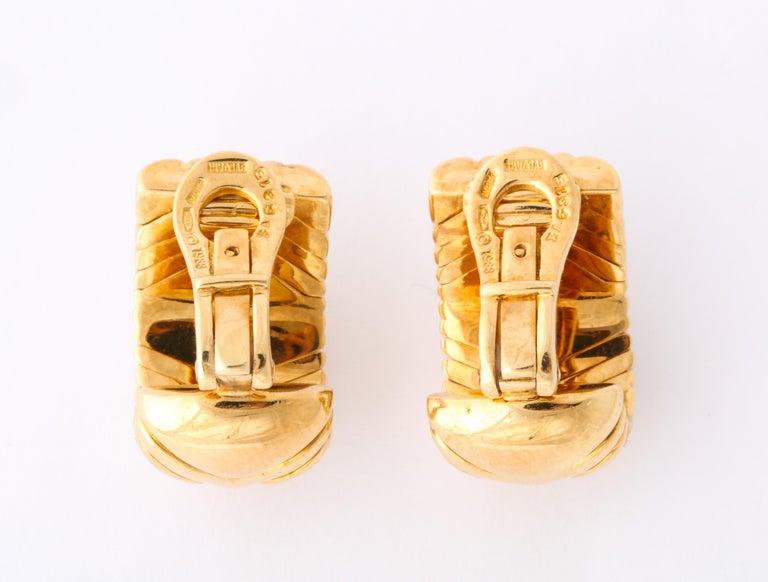 Bulgari, Pair of 18 Karat Gold and Diamond Parentesi Earrings For Sale 4