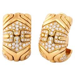 Bulgari, Pair of 18 Karat Gold and Diamond Parentesi Earrings