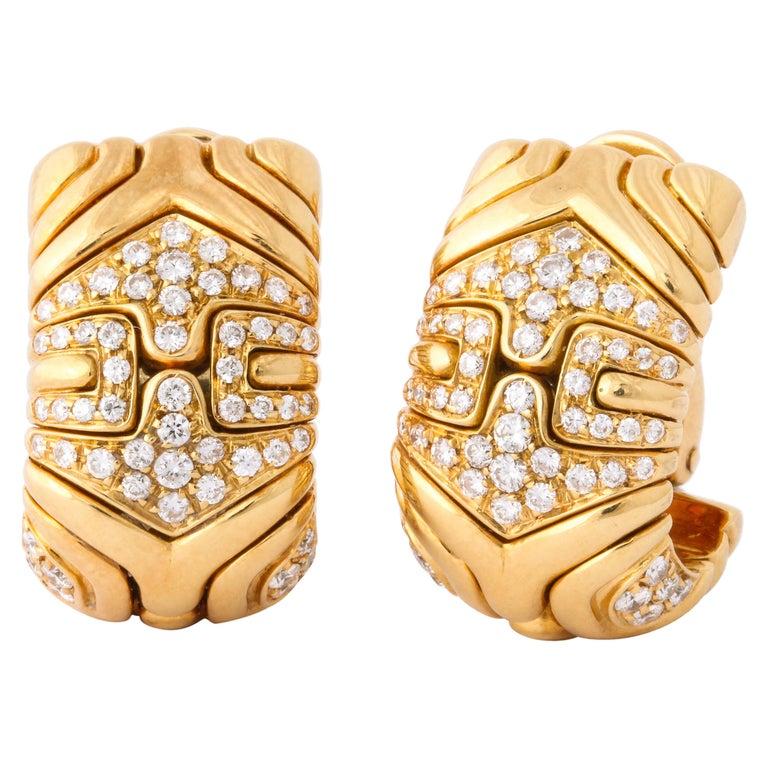 Bulgari, Pair of 18 Karat Gold and Diamond Parentesi Earrings For Sale