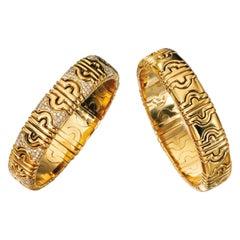Bulgari Pair of 18 Karat Gold Diamond Parentesi Bracelets