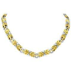 Bulgari Parentesi 18 Karat Gold Stainless Steel Necklace