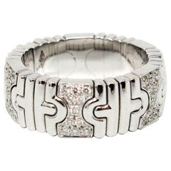Bulgari Parentesi 18 Karat White Gold .42 Carat Pave Diamond Flex Band Ring