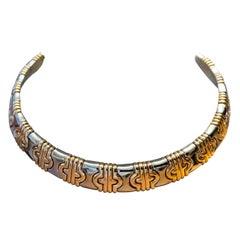Bulgari Parentesi 18 Karat Yellow Gold and Stainless Steel Choker Necklace