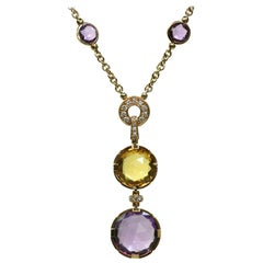 Bulgari Parentesi Amethyst Citrine Diamond Rose Gold Necklace