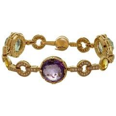 Bulgari Parentesi Amethyst Citrine Prasiolite Diamond Rose Gold Bracelet