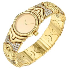 Bulgari Parentesi BJ-01 Sterile Dial 18 Karat Yellow Gold Diamond Wristwatch