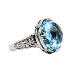 Bulgari Parentesi Blue Topaz & Diamonds 18k White Gold Ring