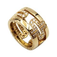 Bulgari Parentesi Diamond 18k Yellow Gold Band Ring
