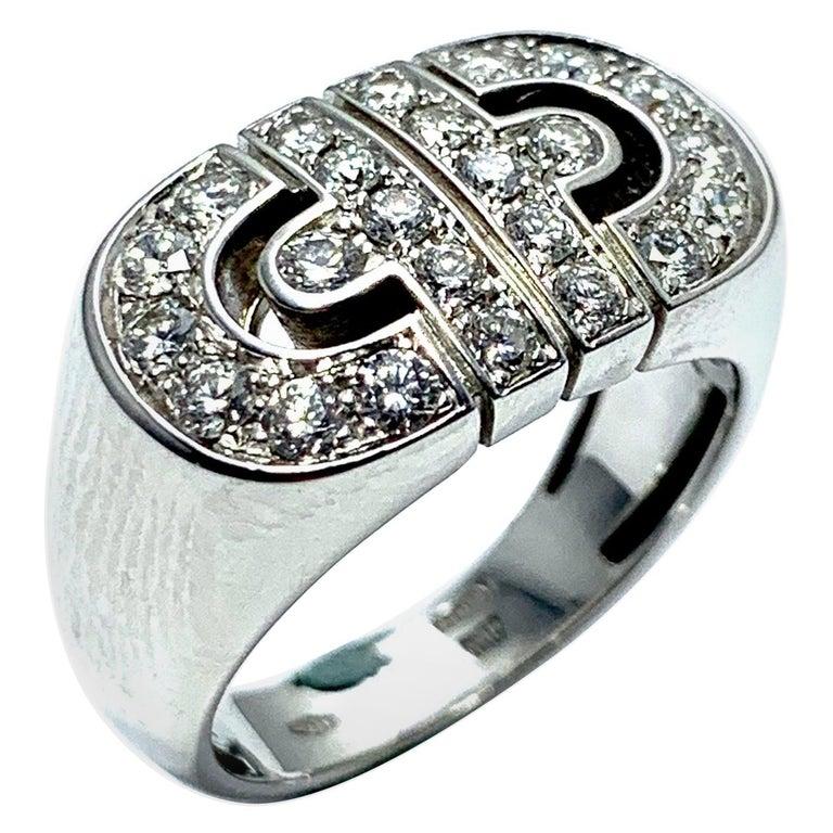 Bulgari Parentesi Diamond and 18 Karat White Gold Ring For Sale
