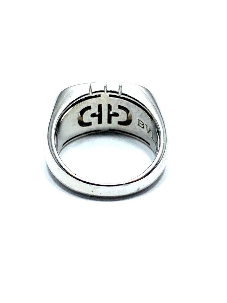 Modern Bulgari Parentesi Diamond and 18 Karat White Gold Ring For Sale