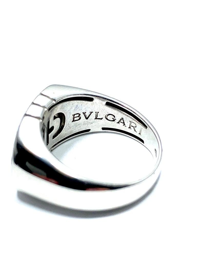 Round Cut Bulgari Parentesi Diamond and 18 Karat White Gold Ring For Sale