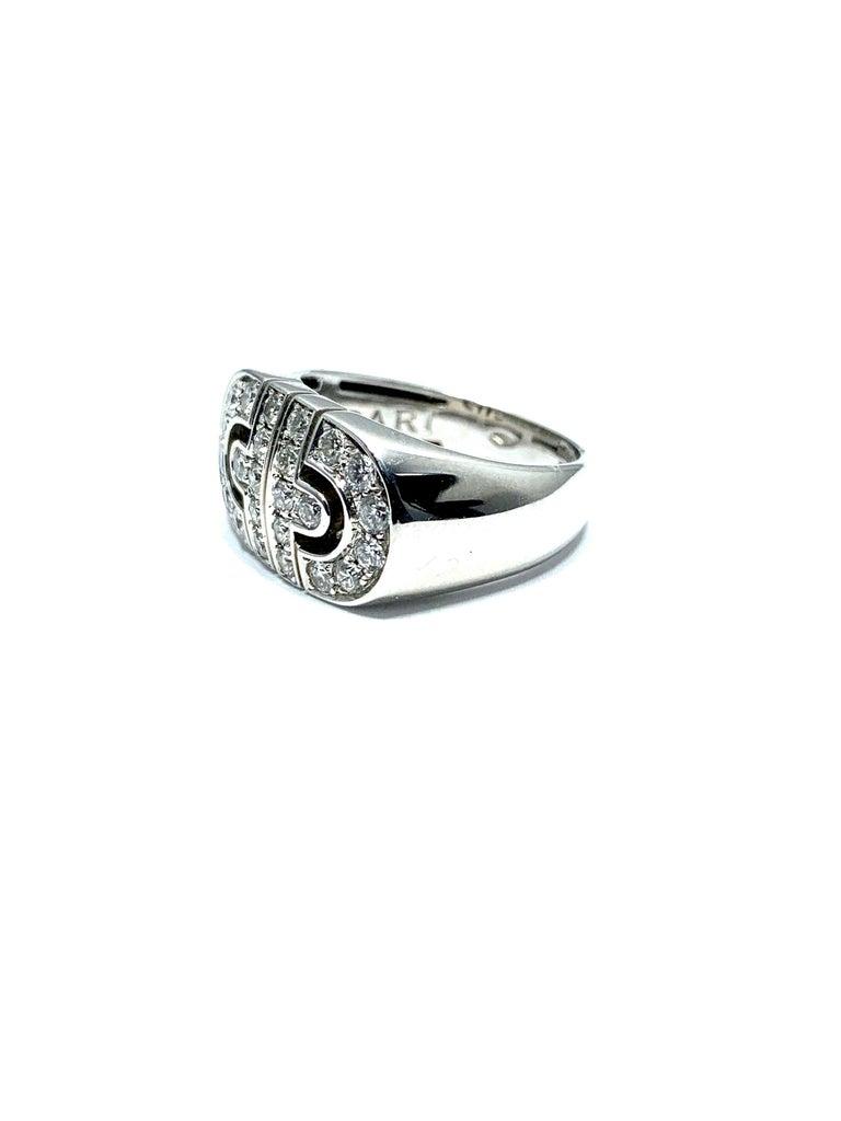 Men's Bulgari Parentesi Diamond and 18 Karat White Gold Ring For Sale