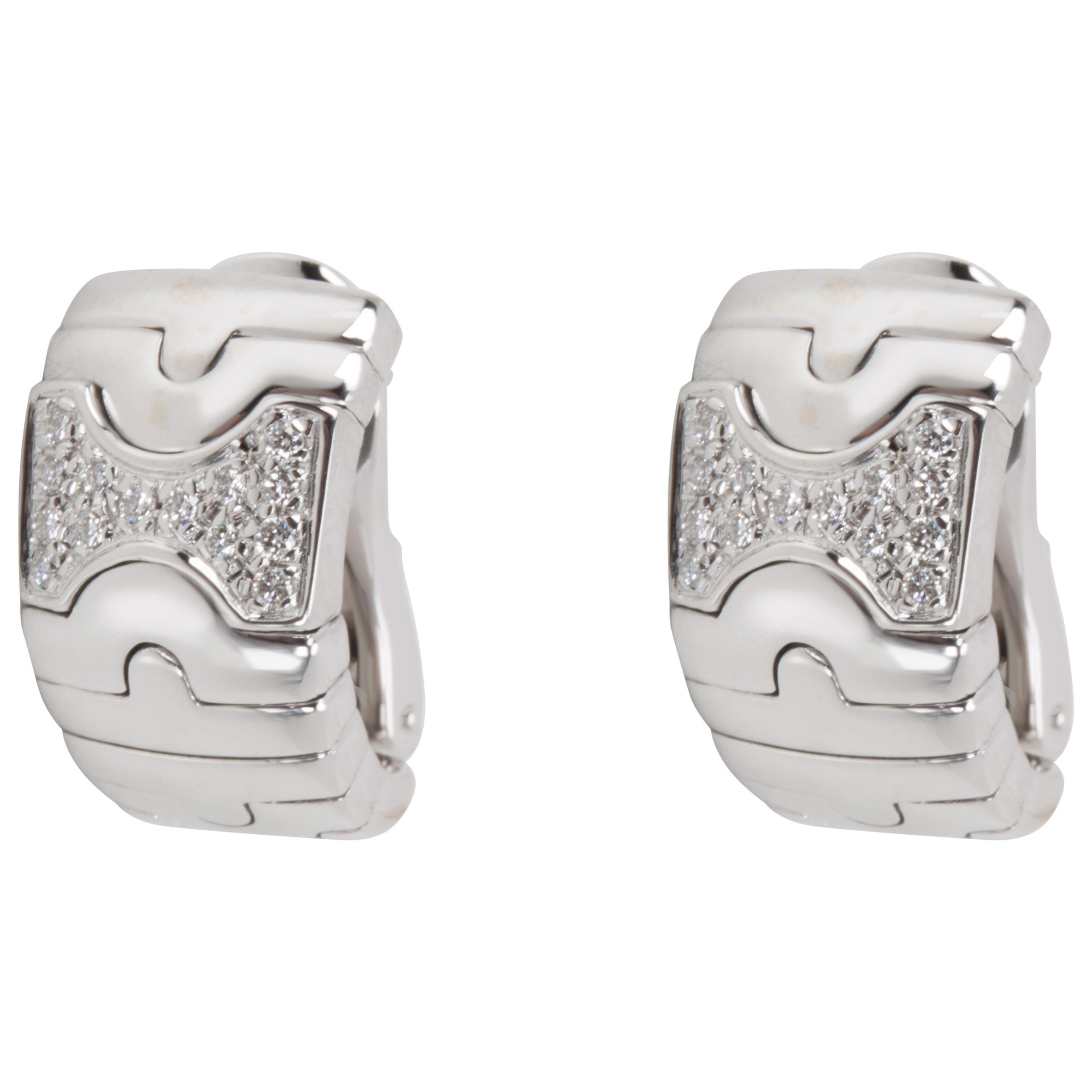 Bulgari Parentesi Diamond Earrings in 18 Karat White Gold 0.5 Carat