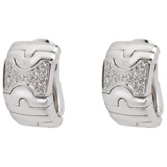 Bulgari Parentesi Diamond Earrings in 18 Karat White Gold 0.5 Carat