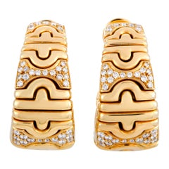 Bulgari Parentesi Diamond Yellow Gold Clip-On Earrings
