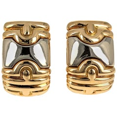 Bulgari Parentesi 1980s Yellow Gold Silver Clip Earrings