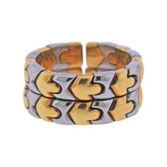 Bulgari Parentesi Gold and Steel Band Ring