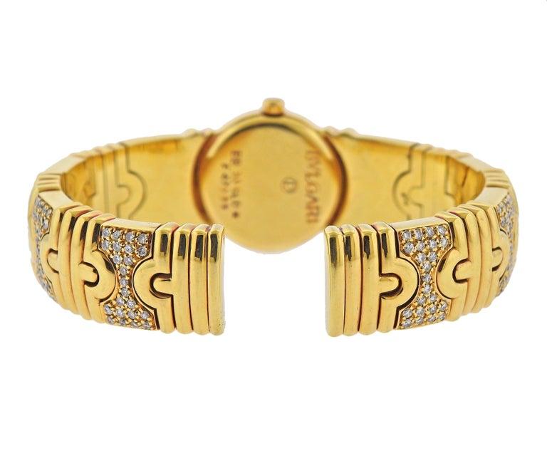 Round Cut Bulgari Parentesi Gold Diamond Watch Bracelet BB 30 GLD For Sale
