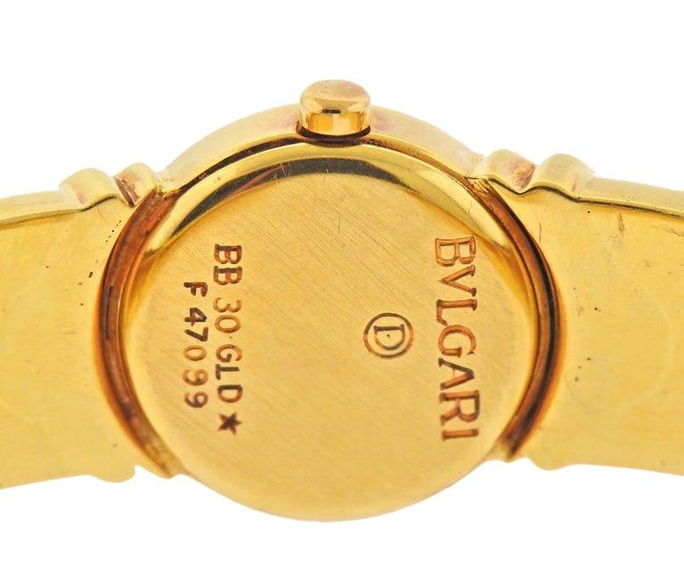 Bulgari Parentesi Gold Diamond Watch Bracelet BB 30 GLD In Good Condition For Sale In New York, NY