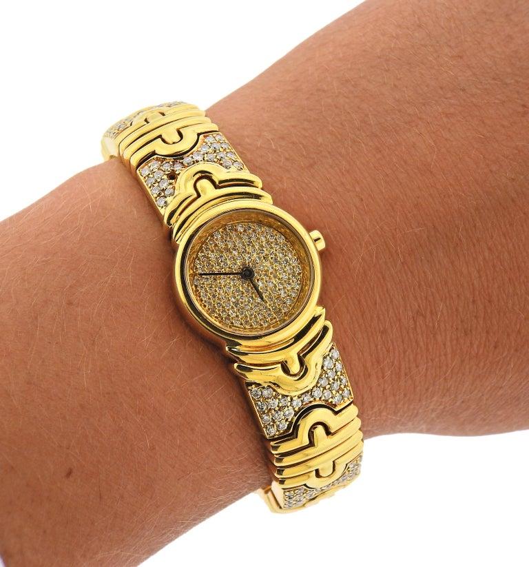 Women's Bulgari Parentesi Gold Diamond Watch Bracelet BB 30 GLD For Sale