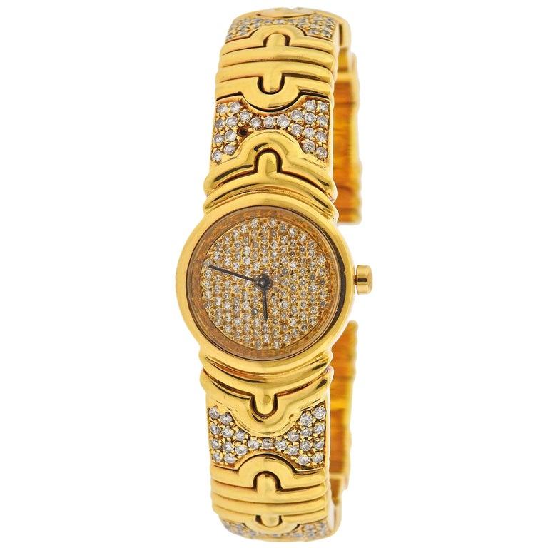 Bulgari Parentesi Gold Diamond Watch Bracelet BB 30 GLD For Sale