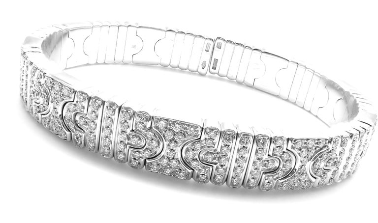 18k White Gold Pave Diamond Parentesi Bangle Bracelet by Bulgari.  With 402 round brilliant cut diamonds VS1 clarity, E color total weight approximatelt 6ct Details: Weight: 62.3 grams Length: 7
