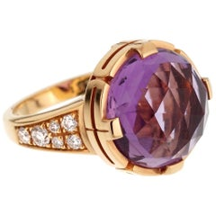 Bulgari Parentesi Rose Gold Amethyst Diamond Ring
