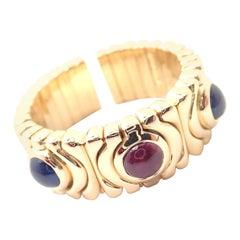 Bulgari Parentesi Sapphire and Ruby Yellow Gold Ring