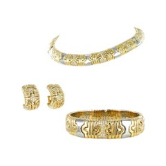 Bulgari Parentesi Set in 18 Karat Yellow Gold and Steel with Diamonds