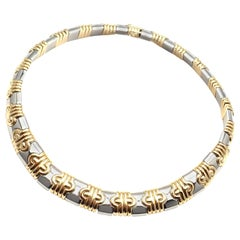 Bulgari Parentesi Wide Yellow Gold and Stainless Steel Necklace