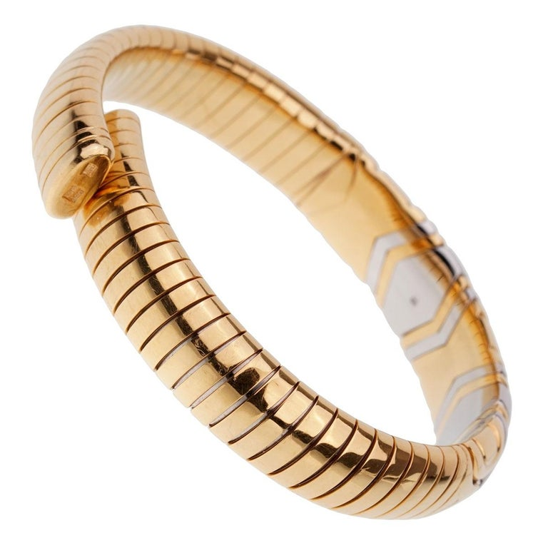 Bulgari Parentesi Yellow Gold Cuff Bangle Bracelet In Excellent Condition For Sale In Feasterville, PA