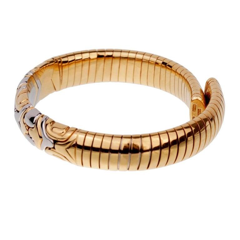 Women's Bulgari Parentesi Yellow Gold Cuff Bangle Bracelet For Sale