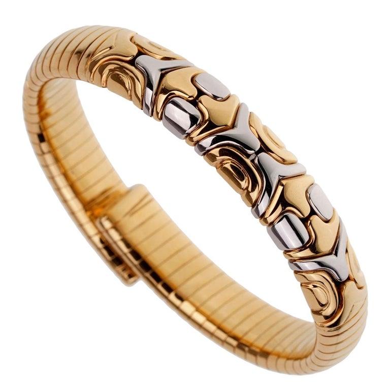 Bulgari Parentesi Yellow Gold Cuff Bangle Bracelet For Sale